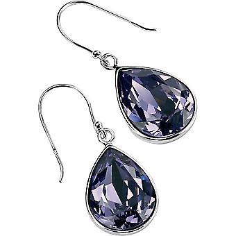 Delar Silver stora Teardrop krok örhängen - Silver/lila