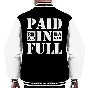 Eric B And Rakim Paid In Full Song Title Men's Varsity Jacket
