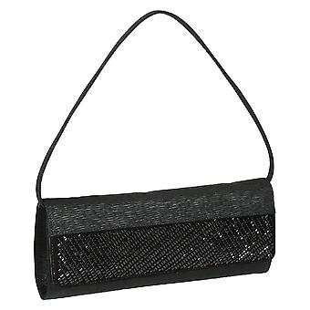 Black pleated satin and suede clutch bag with black beads