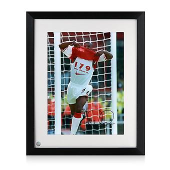 Framed Ian Wright Signed Arsenal Photo: 179 Goals