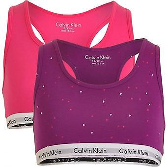 Calvin Klein Girls 2 Pack Modern Cotton Bralette, Viva Pink / Bold Violet Hearts, X-Large