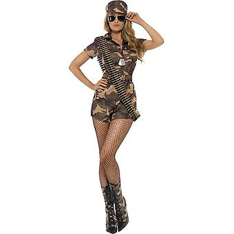 Army Girl Sexy Costume, Camouflage, with Shorts Jumpsuit, Belt & Hat