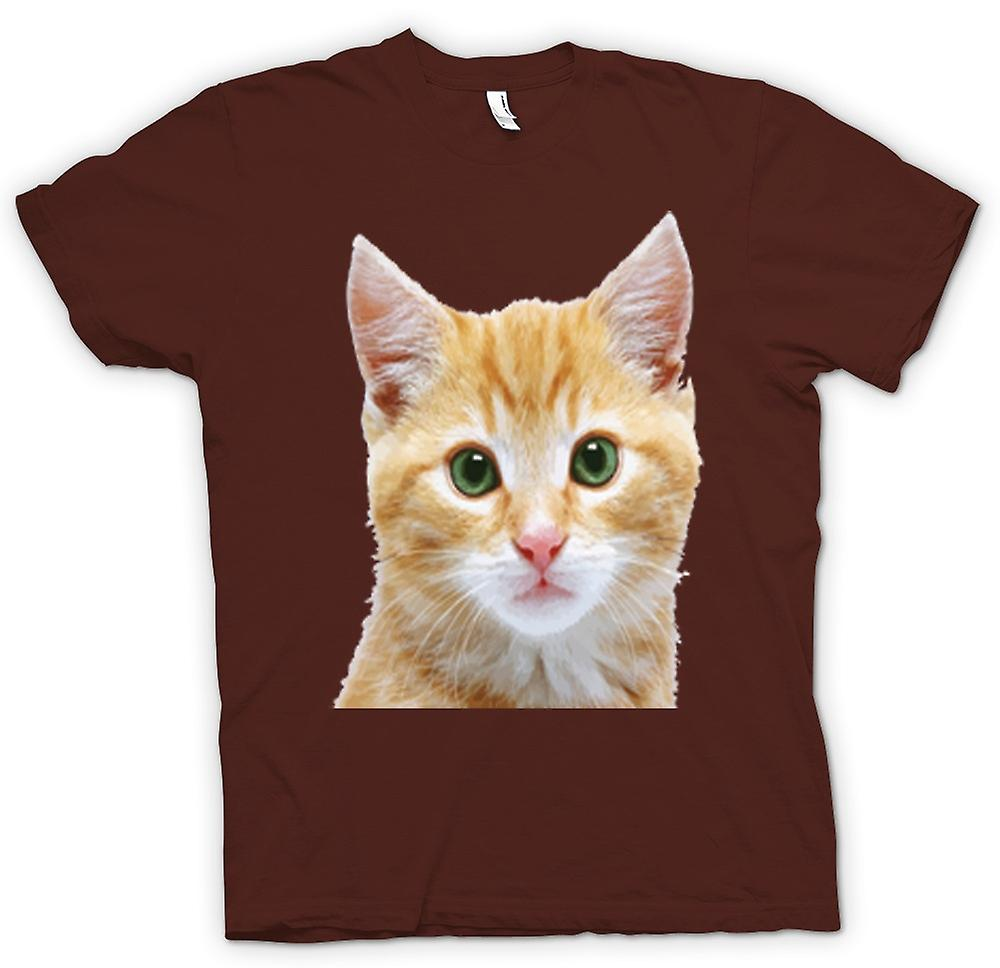 Mens T-shirt - Cute Red Kitten Face Portrait
