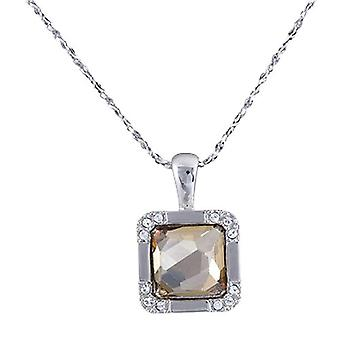 Annaleece Silvertone Square Pendant With Champagne & Clear Crystals