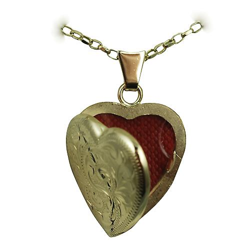 9ct Gold 21x19mm hand engraved heart Locket with a belcher chain