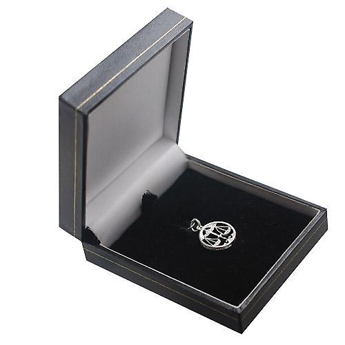Silver 11mm pierced Zodiac pendant Libra