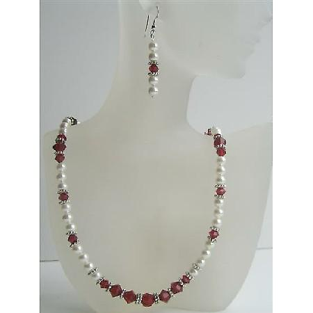 Handmade Jewelry Swarovski White Pearls Siam Red Crystals Bali Silver