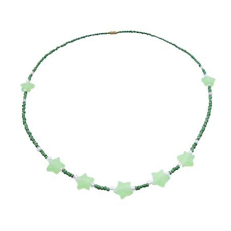 Cute Necklace in Dark Green Tiny Beads with Lite Green Star Beads