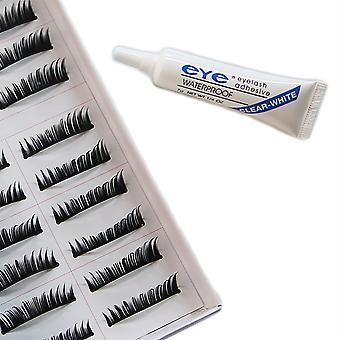 10 pairs thick false eyelashes + adhesive transparent