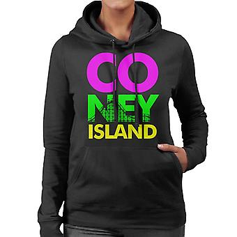 Coney Island Retro färg Text Women's Hooded Sweatshirt