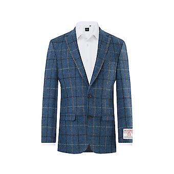 Giacca di Tweed di Harris Tweed Mens Blue/Black Check Regular Fit 100% lana