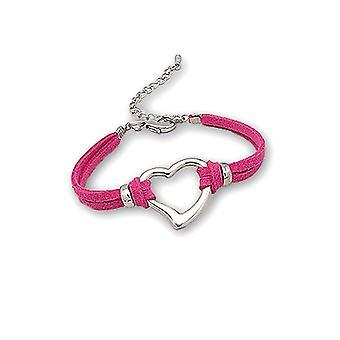 Armband Herz in rosa Suedette dunkel und vergoldeten Rhodium