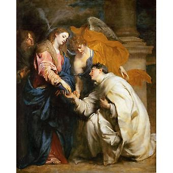 The mystic marriage of the Blessed,Anthony Van Dyck,50x40cm