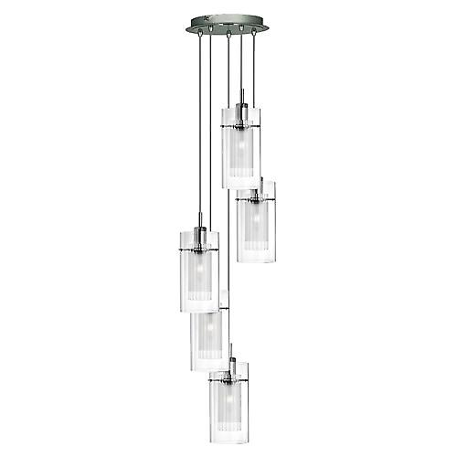 Searchlight 2305-5 Duo 5 Light Pendant With Clear Outer And Frosted Inner Glass