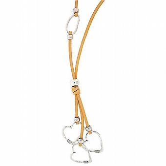 Park Lane Ladies Large Silvertone Triple Heart Pendant on Thick Beige Cord