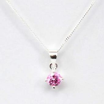 Toc Sterling Silver Pink Cubic Zirconia 5mm Pendant on 18 Inch Chain