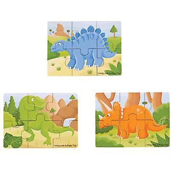 Bigjigs Toys Chunky Dinosaur Puzzles Set Wooden Jigsaw Educational