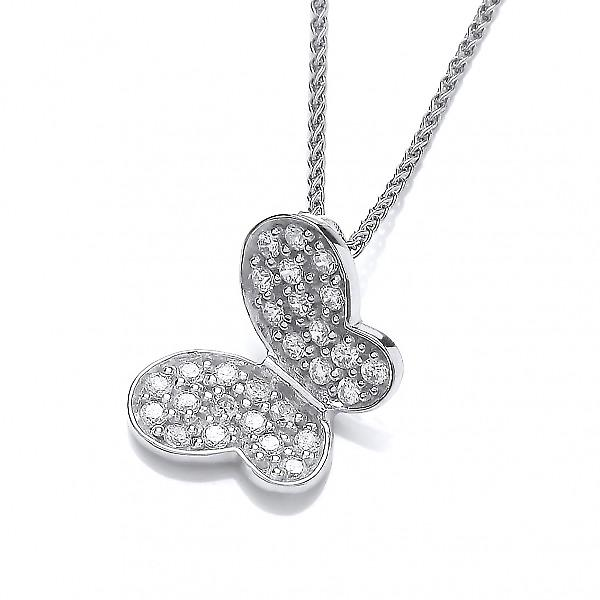 Cavendish French Silver and CZ butterfly pendant without Chain