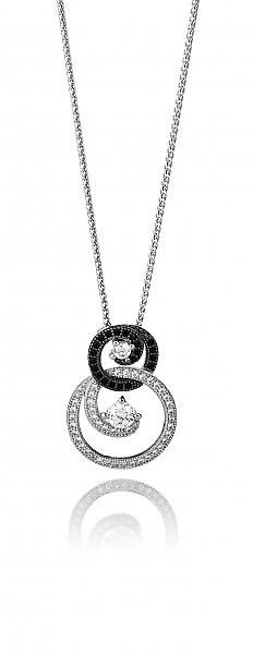 Cavendish French Silver and CZ Twirls and Curls Pendant without Chain