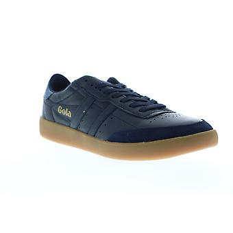 Gola Inca Leather Mens Blue Leather Low Top Lace Up Sneakers Shoes