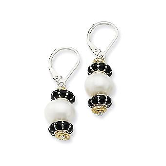 925 Sterling Silver Leverback With 14k 9.5mm Freshwater Cultured Cultured Pearl and Enameled Bead Earrings