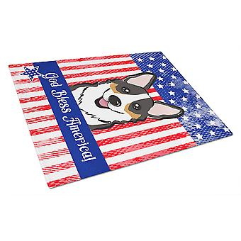 God Bless American Flag with Tricolor Corgi Glass Cutting Board Large BB2185LCB
