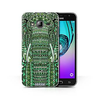 STUFF4 Case/Cover for Samsung Galaxy J3/Elephant-Green/Aztec Animal