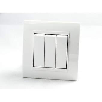 I LumoS AS Luxury White Plastic Arc Single Frame 3 Gang 2 Way Rocker Light Switches