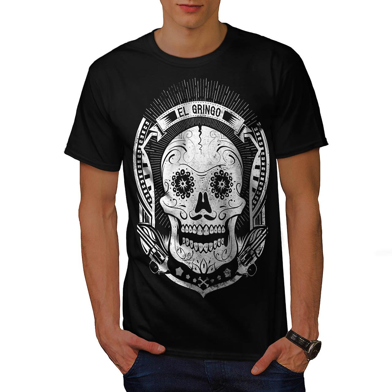 Mexican Skull Death Evil Monster Men Black T-shirt | Wellcoda