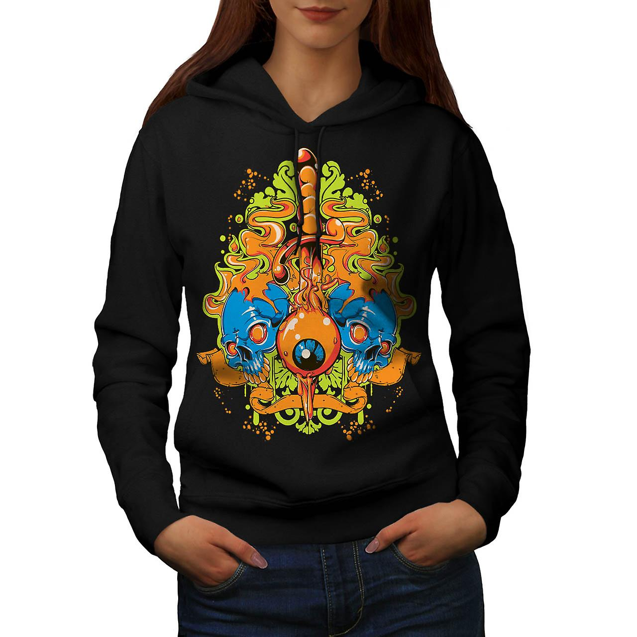 Evil Eye Knife Sword Skull Smile Women Black Hoodie | Wellcoda