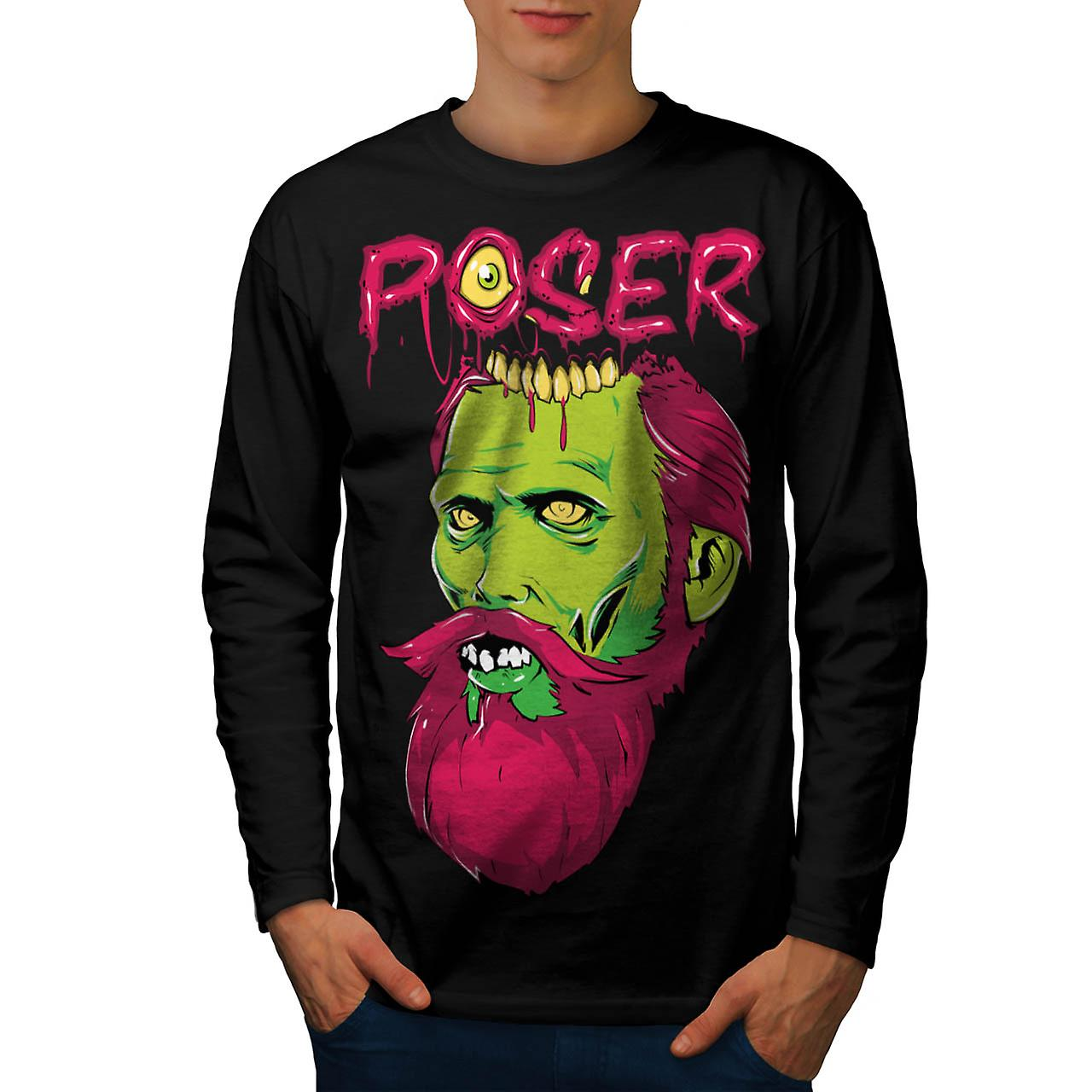 Poser Zombie Undead Dead Beard Men Black Long Sleeve T-shirt | Wellcoda