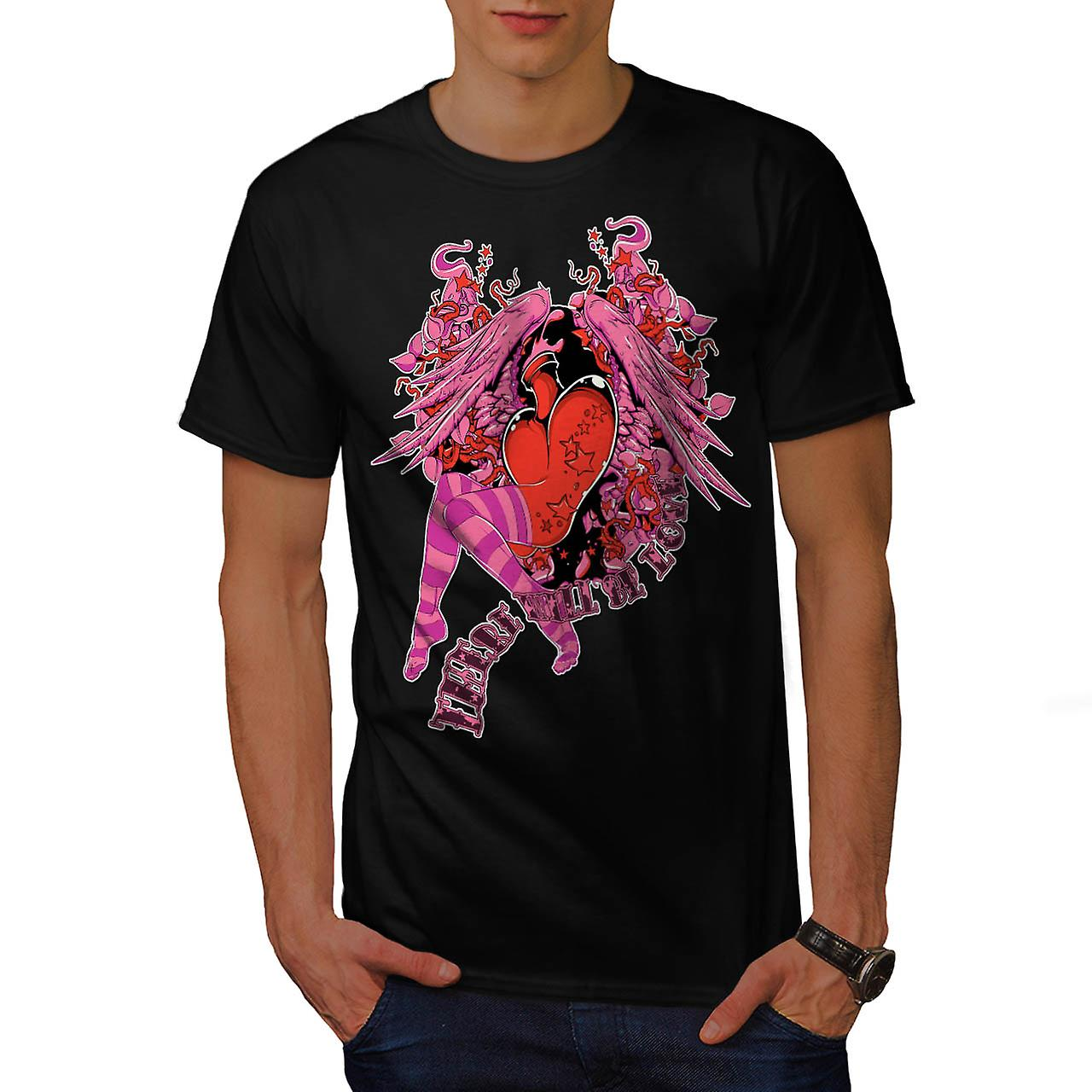 Cartoon Love Girl Fly Wing Live Men Black T-shirt | Wellcoda