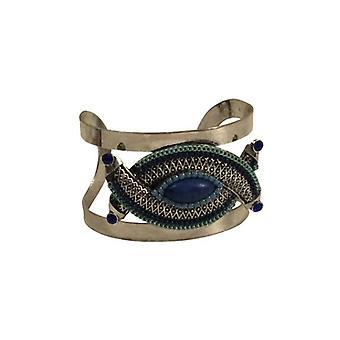 Unique vintage bohemian chic statement cuff bracelet blue