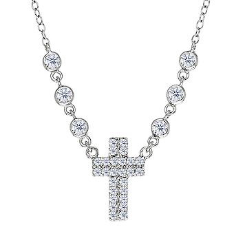 Cross And CZ Necklace In Sterling Silver, 18