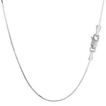 Sterling Silver Rhodium Plated Octagonal Snake Chain Necklace, 0.9mm