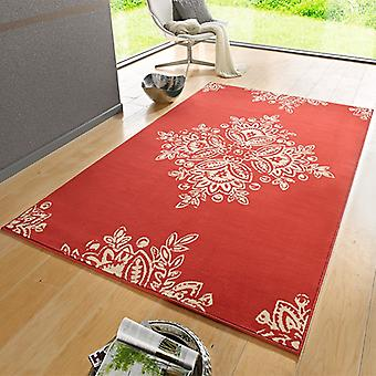Designer velour carpet blossom coral cream | 102426