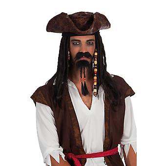 Black Pirate Plaited with Bead Stick on Moustache & Goatee Fancy Dress Accessory