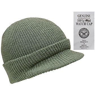 New Peaked 100% Wool Hat Us Army Watch Cap Beanie