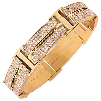 Iced Out Edelstahl DOUBLE CZ Armband - 20mm gold