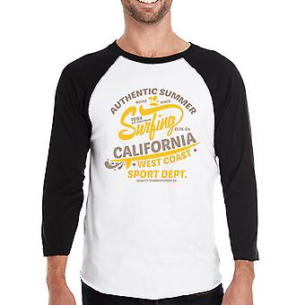 Zomer-Surf Californië Mens 3/4 mouw Vintage Baseball T-shirt