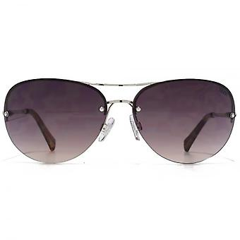 SUUNA Freya Rimless Aviator Sunglasses In Silver