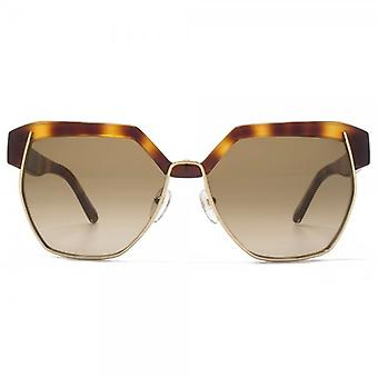 Chloe Dafne Geometric Metal Mix Sunglasses In Light Havana