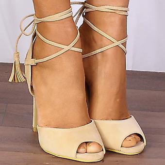 Shoe Closet Nude Ankle Heels - ED80 Faux Suede Barely There Wrap Round Lace Ups Strappy Sandals High Heels