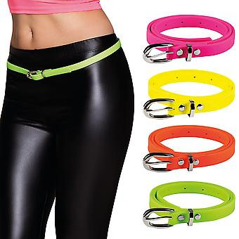 Ladies Bright Coloured 80's Neon Skinny Belt Fancy Dress Accessory
