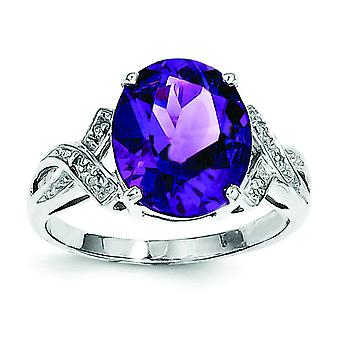 Sterling Silver Polished Rhodium Amethyst Diamond Ring - Ring Size: 6 to 8