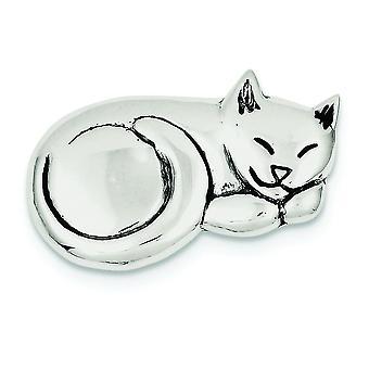 Sterlingsølv Solid antikke finish antikke sovende kat Pin - 7.1 gram