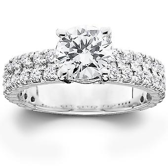 2 3/8ct Diamond Pave Double Row Engagement Ring 14K White Gold
