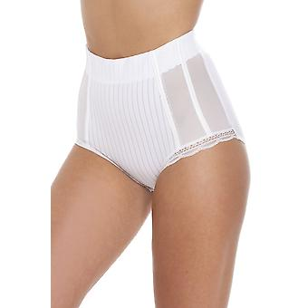 Camille White High Waisted Mesh Support Panel Control Brief