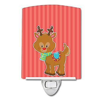 Christmas Reindeer and Stripes Ceramic Night Light