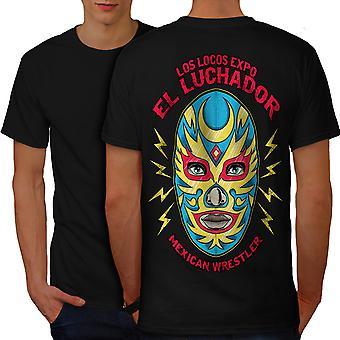 El Luchador Wrestler Men BlackT-shirt Back | Wellcoda